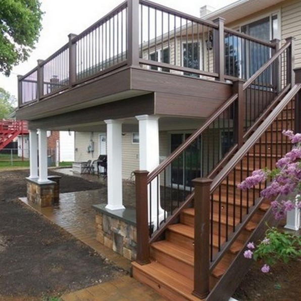 Second Floor Deck With Screened In Porch Design And Stairs 12